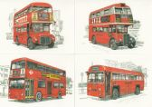 LONDON BUSES SET OF FOUR POSTCARDS BY GOLDEN ERA